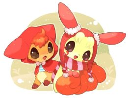 Cute Vulpix And Plusle by Glamorivulpix