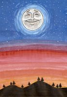 Moon Watercolor by JeyJee
