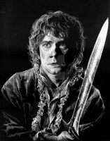 Bilbo Baggins The Hobbit Scratchboard by LKBurke29