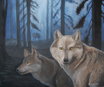 Wolves in Fog Forest by LauraRamirez