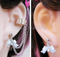 Silver and White Bow Cartilage Chain Earrings by merigreenleaf