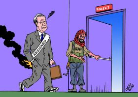 Donald Rumsfeld resigns by Latuff2