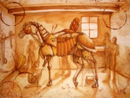 Steampunk Horse in Shop by DedHampster