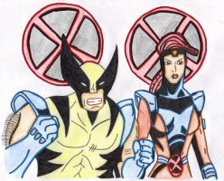 Wolvie And Jean Coloured by frostyrogue
