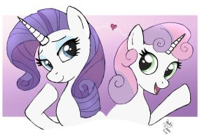 Rarity Sweetie Belle sister love by Joakaha