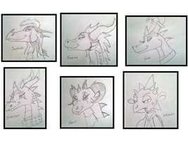 Dragon Ladies of dA doodles by Thornacious