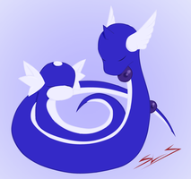 Dragonair and Dratini by Sora-Kitsune
