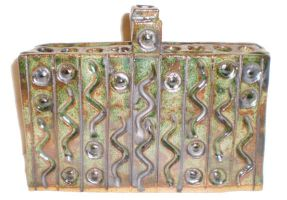 Small Slab Menorah With Snakes and Eyes by aberrantceramics