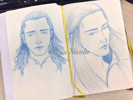 (Double) Doodle of the day - Loki and Thranduil by Cris-Nicola