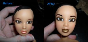 First Repainted Doll Face by kayanah