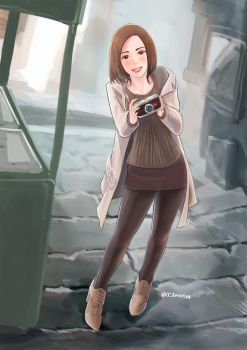 Speed drawing: A girl with Camera by lazyseal8