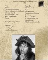 Baldrick's MP Application Form by Guthbrand