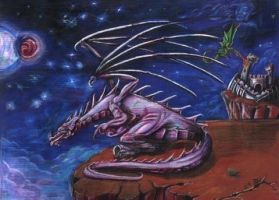 Dragon on Cliff by mikey-madness