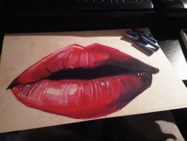 Oil pastel lips by happyzuko