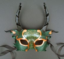 Green and Copper Dragon Mask by merimask