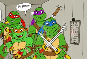 TMNT: In The Elevator by xero87