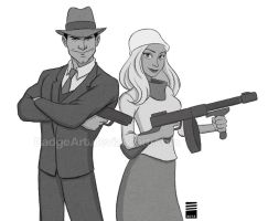 Sketch_Dailies #2: Bonnie and Clyde by EadgeArt