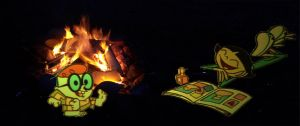 Lee Lee and Dexter by the campfire by timbox129