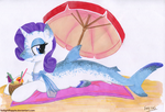 Rarity Shark Sunbath by TwilightFlopple