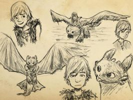 How to Train Your Dragon SketchDump by EmpatheticFrog
