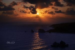 Sunfall @ Aphrodite's rock - Paphos, Cyprus by alwinred