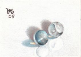 ACEO Clear and Catseye marbles by robertsloan2