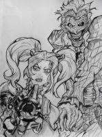 Arkham city Harley Quinn and Joker drawing by DiegoE05