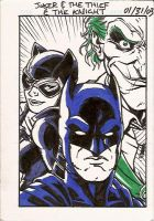 Joker and the Thief and the Knight (Sketch Card) by BenSteamroller