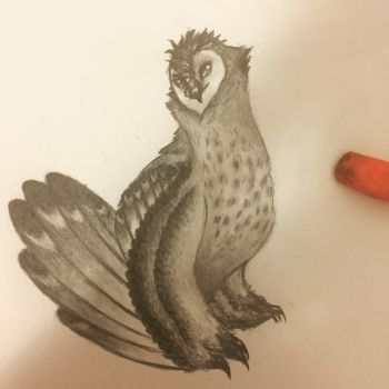 Owl monster doodle by Glitchion