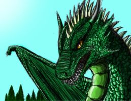 Emerald dragon by Golphee