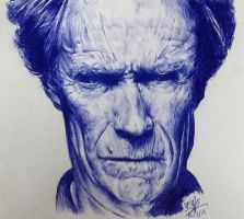 Ballpoint pen drawing of Clint Eastwood by chaseroflight
