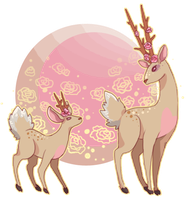 fantasy deers with weird anatomy by BlackMayo