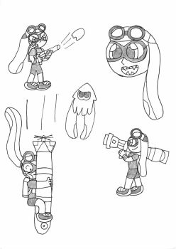 Sammy the Inkling Sketches by LeoDudeXtreme