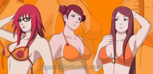 The Uzumaki Ladies: Karin, Mito, Kushina by JuPMod
