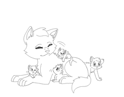 Mother And Kits Lineart redo by nikkithedog3