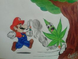 Super Mario chasing Weed up a tree by cheese6623