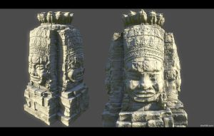 Angkor Thom Face Statue 3 by charliedeft