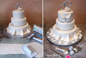 Wedding Dress cake in progress by Verusca