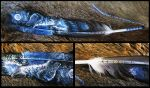 Paint on feather: Night Storm by WolfRoad