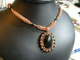 Onyx and copper necklace by BacktoEarthCreations