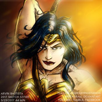 Arvin Bautista Sketches 2017 59/100: WonderWoman C by greasypigstudios