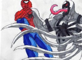 Anti-Venom fighting Spidey by ChahlesXavier