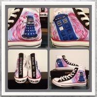 Tardis and Dalek Painted Converse by Zodiac-Salad