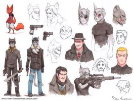 Sketch Dump - People and scarred Cats by davi-escorsin