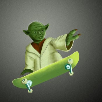 Yoda on a skateboard by JohnnyPerkka
