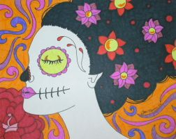Sugar Skull Girl with Swirls by ToniTiger415