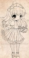New Honey Chibi Lineart Commission by YamPuff