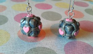 Companion Cube Polymer Clay Earrings by StarfallAtDusk