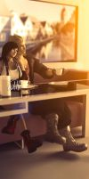 Snow and Tifa: Morning Tea by LoneWolf117