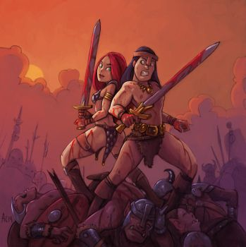 Conan And Red Colour Sketch by alexichabane